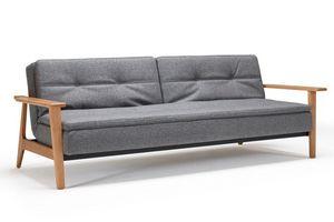INNOVATION - canapé lit design dublexo frej tissu gris converti - Bettsofa