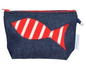 MADE IN MARINIERE - pochette jean's poisson rouge/ecru - Kosmetiktasche