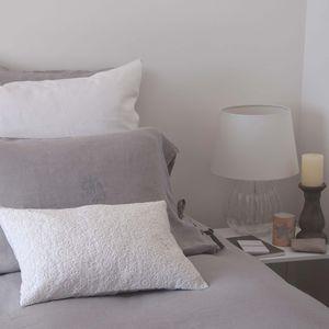 MAISON D'ETE - taie d'oreiller lin lavé gris clair avec monogram - Kopfkissenbezug