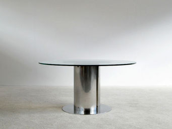 FURNITURE-LOVE.COM - antonia astori chrome steel dinning cidonio table - Runder Esstisch