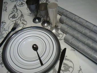 Adiserve - nappe argent papier damassé 1;20 x 6 m par 2 - Papiertischdecke