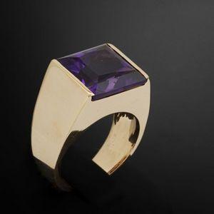 Expertissim - bague de style tank or et améthyste de 7.66 carats - Ring
