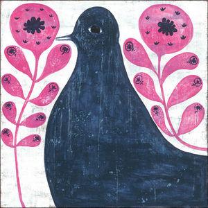 Sugarboo Designs - art print - black bird in flowers 36 x 36 - Dekorative Gemälde Für Kinder