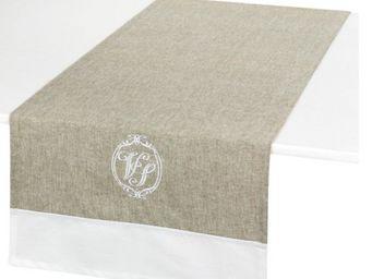 Antic Line Creations - chemin de table brodé vénus lin en coton 45x145cm - Tischläufer