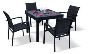 WILSA GARDEN - salon de jardin modulo noir 4 personnes en alumini - Quadratischer Esstisch