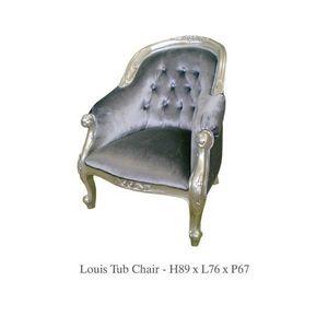 DECO PRIVE - fauteuil classique en velours gris capitonne model - Crapaud Sessel