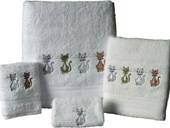 SIRETEX - SENSEI - serviette invitée 30x50cm brodée chats chics 550gr - Gästehandtuch