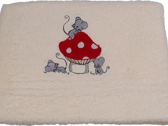 SIRETEX - SENSEI - drap de douche bébé brodé 70x140cm mouse room - Kinder Badetuch