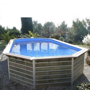 Christaline - piscine evolux bois octogonale allonge classique s - Pool Mit Holzumrandung