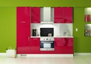DT - cuisine complte laque rouge lea 270 cm - Küchenmöbel