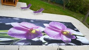 Tiki concept - orchidée - Personalisierte Pool Abdeckung