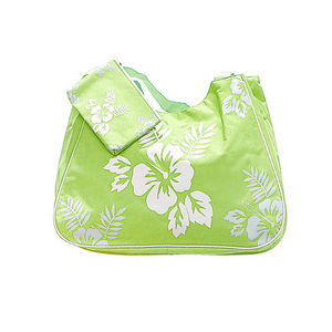 WHITE LABEL - grand sac cabas avec pochette assortie motif hibis - Tasche
