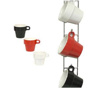 WHITE LABEL - 6 tasses modernes avec son support mural en inox - Kaffeetasse