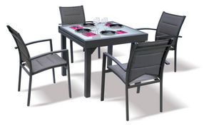 WILSA GARDEN - salon de jardin modulo gris 4 personnes en alumini - Garten Esszimmer