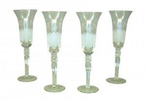 Demeure et Jardin - ensemble de 4 flutes a champagne gravées - Champagnerkelch