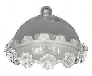 Demeure et Jardin - cloche à patisserie en tôle blanche - Kuchen Glaskuppel