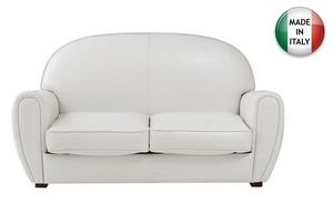 WHITE LABEL - canapé club blanc 2 places en cuir recyclé. made i - Clubsofa