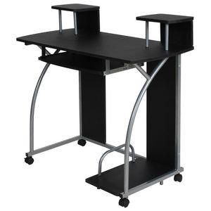 WHITE LABEL - bureau enfant meuble chambre noir - Schreibtisch Büroräume