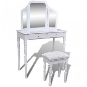 WHITE LABEL - coiffeuse avec grand miroir et tabouret - Frisierkommode