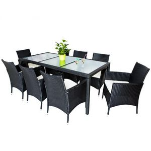 WHITE LABEL - salon de jardin 8 chaises + table noir - Garten Esszimmer
