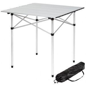 WHITE LABEL - table de camping jardin pique-nique aluminium pliante 70x70 cm - Campingtisch