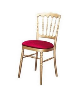 DECO PRIVE - chaise napoleon 3 dorée et galette rouge (tarif pr - Rezeptionsstuhl