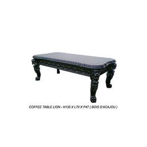 DECO PRIVE - table basse de style baroque en bois noir modèle l - Rechteckiger Couchtisch