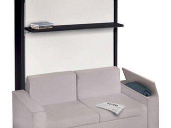 WHITE LABEL - armoire lit verticale luxury structure wenge façad - Schrankbett