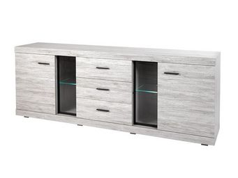 WHITE LABEL - buffet 2 portes 3 tiroirs - rejy - l 243 x l 48 x - Anrichte