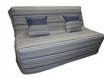 WHITE LABEL - banquette bz convertible axel à rayures taupe et b - Schlafsofa
