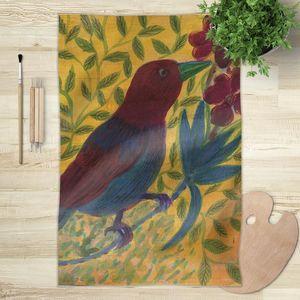la Magie dans l'Image - foulard oiseau bordeaux - Vierecktuch