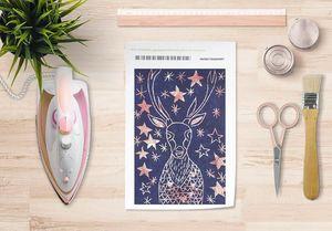 la Magie dans l'Image - papier transfert cerf etoilé bleu - Verlegung