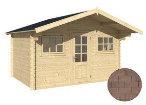 jardindeco - abri de jardin en bois charnie bardeau droit brun - Holz Gartenhaus