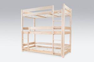 ABC MEUBLES - abc meubles - lit superposé abc 3 places en bois massif 90x190 brut 90x190 - Andere Verschiedene Schlafzimmermöbel