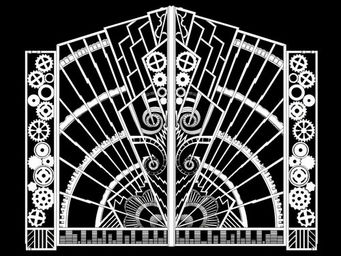 Archipedia - art déco fer forgé gate - Fenstertür, Zweiflügelig