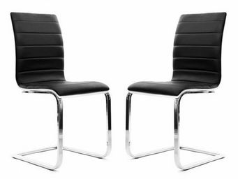 Miliboo - lot de 2 chaises noires et blanches saddie - Stuhl