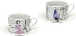 La Chaise Longue - coffret 2 tasses à thé en porcelaine les parisienn - Teetasse