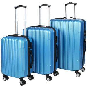 WHITE LABEL - lot de 3 valises bagage rigide bleu - Rollenkoffer