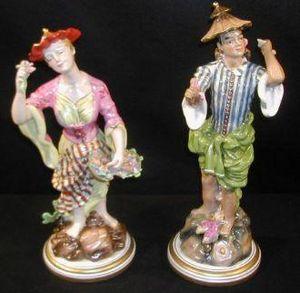 Demeure et Jardin - paire de personnages xviiiè - Figürchen
