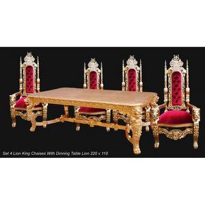 DECO PRIVE - ensemble baroque de luxe king table et fauteuils - Rechteckiger Esstisch