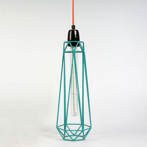 Filament Style - diamond 2 - suspension bleu câble orange ø12cm | l - Deckenlampe Hängelampe