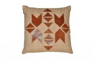 Demeure et Jardin - joli coussin style ethnique cuir et jute - Kissen Quadratisch