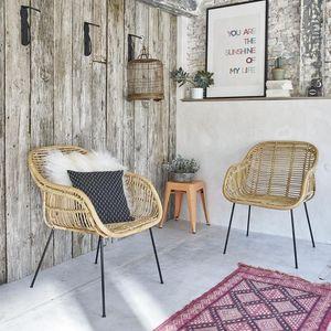 BOIS DESSUS BOIS DESSOUS - lot de 2 chaises en rotin et métal - Sessel