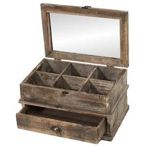 CHEMIN DE CAMPAGNE - boîte coffre coffret de rangement à thé en bois 40 - Teedose