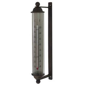 CHEMIN DE CAMPAGNE - grand thermomètre mural en fer et verre - Thermometer