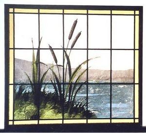 L'Antiquaire du Vitrail - joncs au bord d'un étang - Buntglasfenster