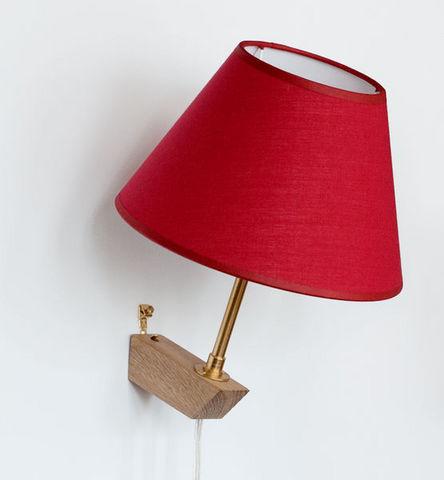 La Fin du Mobilier - Wandleuchte-La Fin du Mobilier-coton rouge rehausse dorée fil transparent