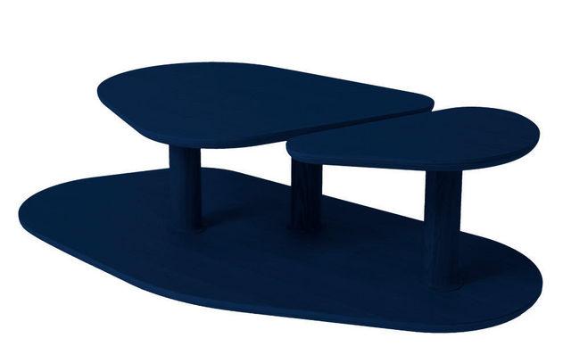MARCEL BY - Originales Couchtisch-MARCEL BY-Table basse rounded en chêne bleu nuit 119x61x35cm