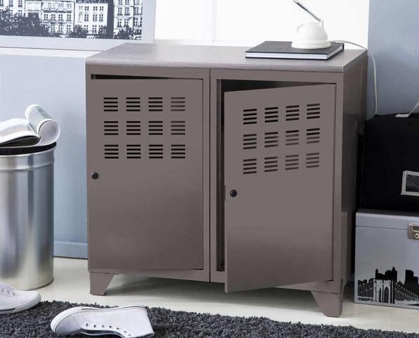 PHSA - Büroschrank-PHSA-Armoire de rangement 2 portes en métal taupe 40x80
