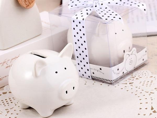 WHITE LABEL - Spardose-WHITE LABEL-Tirelire en céramique en forme de cochon blanc cag